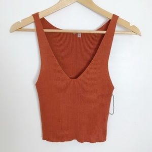 Free People Sleeveless Crop Top Brown/ Orange